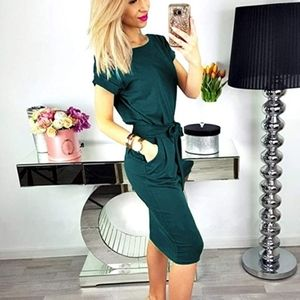 Emerald Green Casual or Work Dress with Self Belt